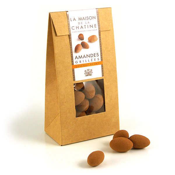 Maison de la Chatine Chatines cacao - Amandes enrobées de chocolat au lait - L'étui de 100g