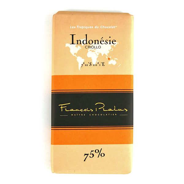 Chocolats François Pralus Tablette chocolat noir Indonésie - Criollo 75% - Tablette 100g