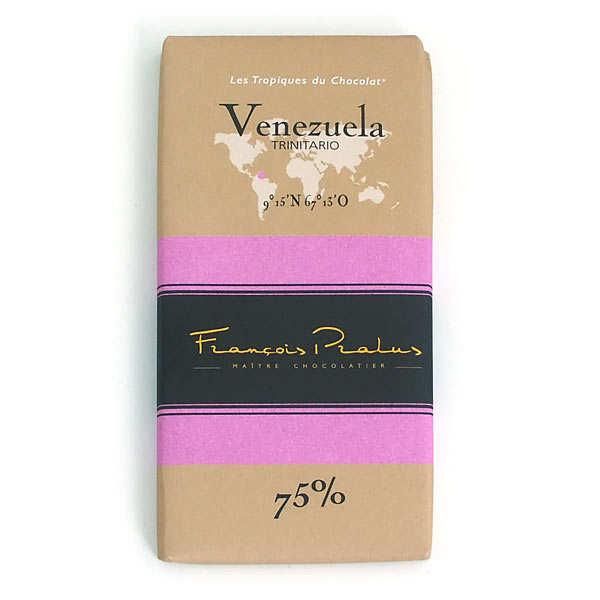 Chocolats François Pralus Tablette chocolat noir Venezuela - Trinitario 75% - Lot de 3 tablettes de 100g