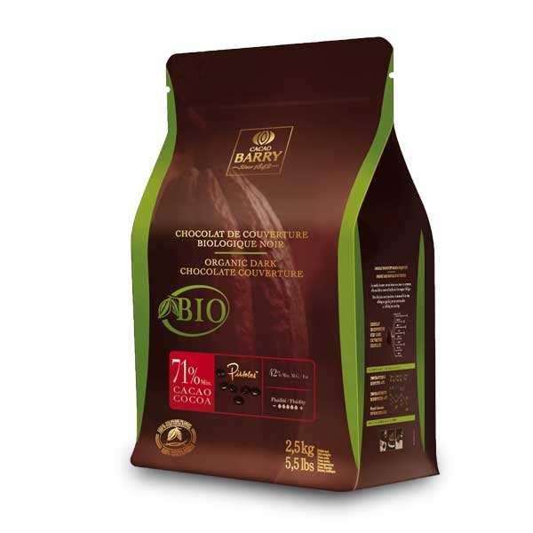 Cacao Barry Chocolat de couverture noir bio 71% - en pistoles - Paquet 2.5kg