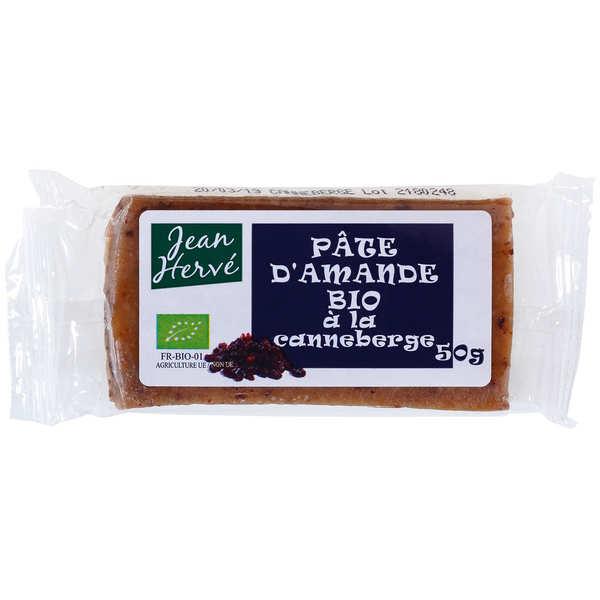 Jean Hervé Pâte d'amande aux cranberries bio - Lot de 5 barres 50g