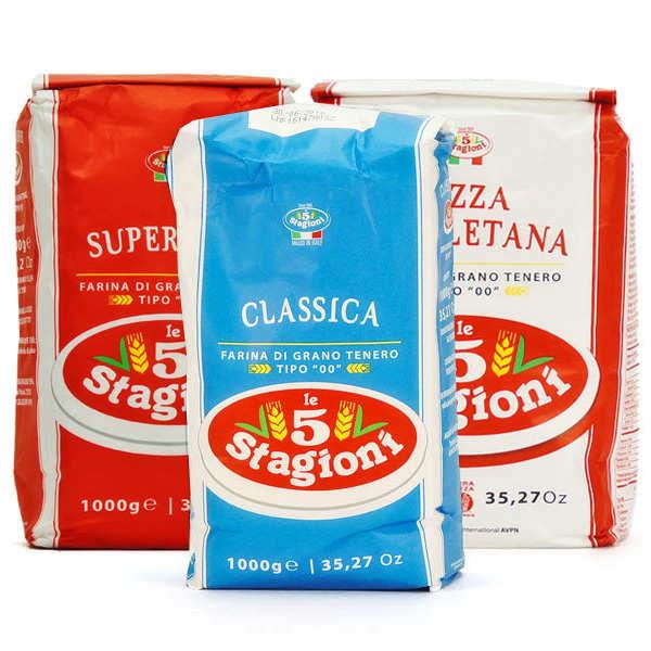 Le 5 Stagioni Trio de farines à pizza italiennes - Lot de 3 farines (3 x 1kg)