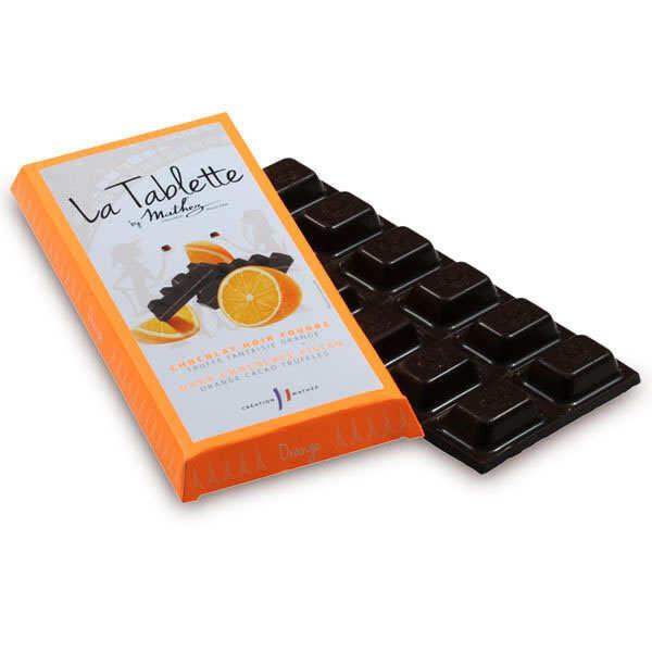 Chocolat Mathez Tablette de chocolat noir fourrée à la truffe et écorces d'orange confite - 10 tablettes de 95g
