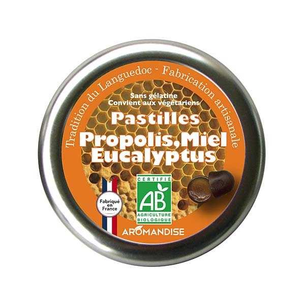 Aromandise Pastilles bio propolis, miel et eucalyptus - Boite 45g