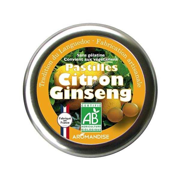 Aromandise Pastilles bio citron et ginseng - Boite 45g