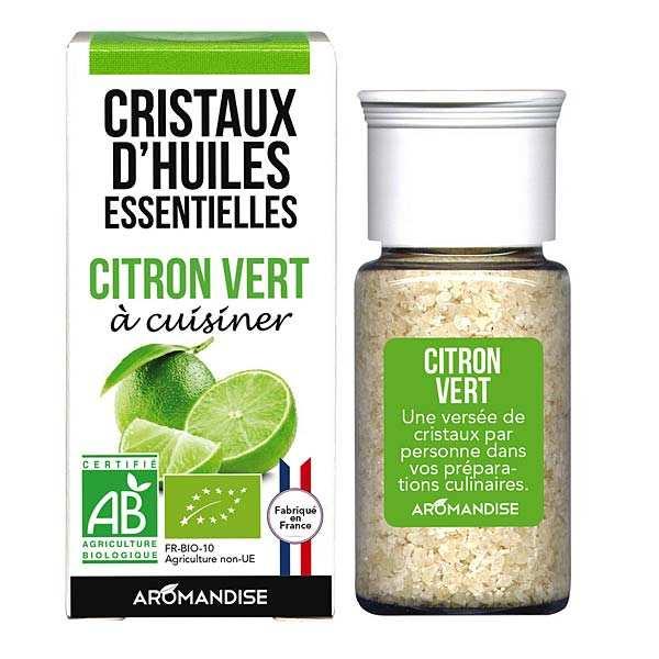 Aromandise Citron vert - Cristaux d'huiles essentielles à cuisiner - Bio - Flacon 10g