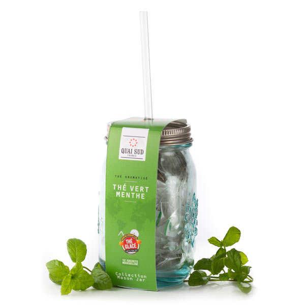 Quai Sud Thé vert glacé à la menthe - Mason Jar + 12 sachets mousseline