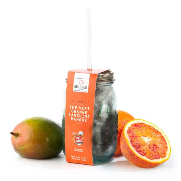 Quai Sud Thé vert glacé orange sanguine et mangue - Mason Jar + 12 sachets mousseline