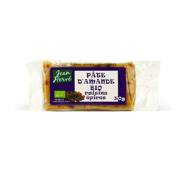 Jean Hervé Pâte d'amande aux raisins et aux épices - bio - Barre 50g