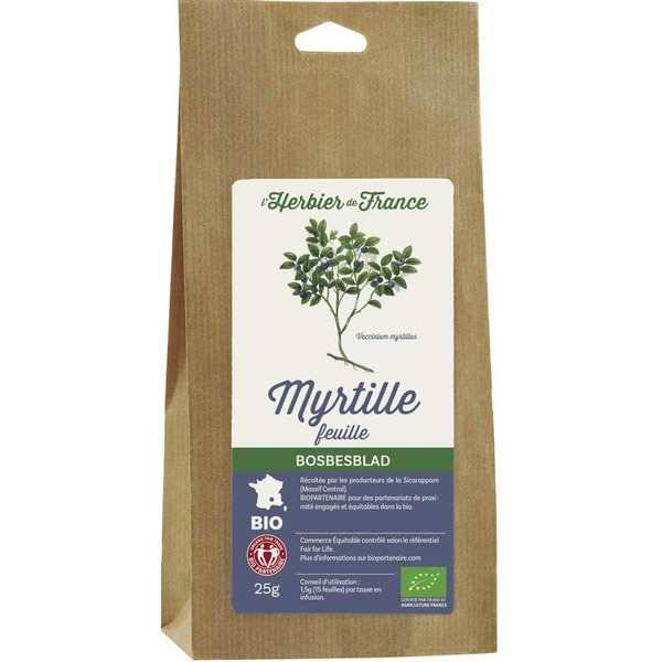 Cook - Herbier de France Infusion de myrtille en feuilles bio - 3 sachets de 25g