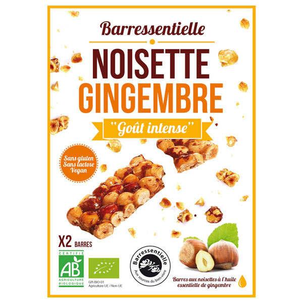 Aromandise Barre aux noisettes à l'huile essentielle de gingembre bio - Etui 2 barres