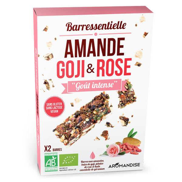 Aromandise Barre aux amandes, goji, rose et huile essentielle de géranium bio - Etui 2 barres