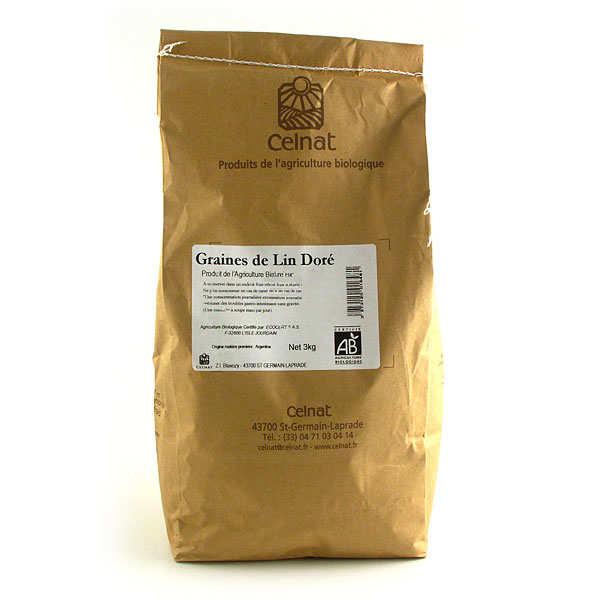 Celnat Graines de lin doré bio - sac de 3kg - Sac 3kg