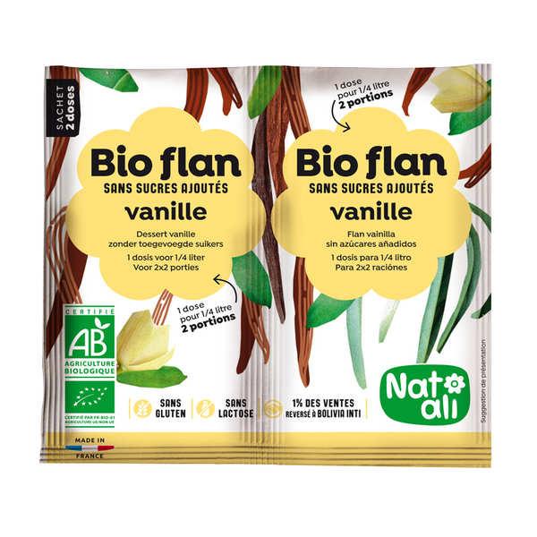 Nat-Ali Bio flan non sucré parfum vanille - Lot de 10 x 2 doses de 4g