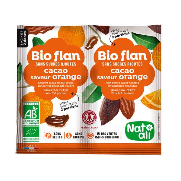 Nat-Ali Bio flan non sucré parfum chocolat / orange - Lot de 10 x 2 doses de 5g