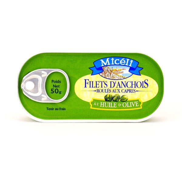 Conserverie Miceli Filets d'anchois roulés sur câpres à l'huile d'olive - Boite 50g