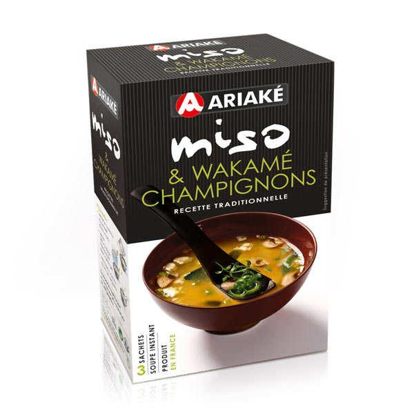 Ariaké Japan Soupe miso, wakamé et champignons instantanée en sachets - 3 sachets de 12g