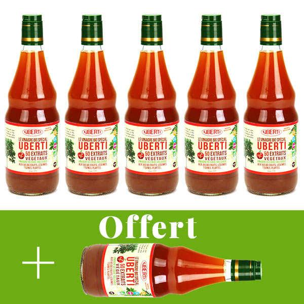 Mondial Uberti Vinaigre de cidre bio sans sulfite Uberti - 5 + 1 offert - 5 bouteilles de 1L + 1 offerte