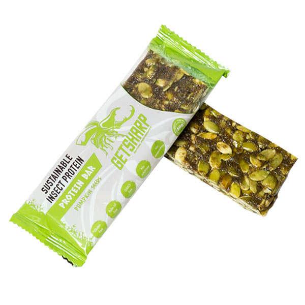 Getsharp Barre énergie à la protéine d'insecte et graines de courge - Lot 6 barres de 30g