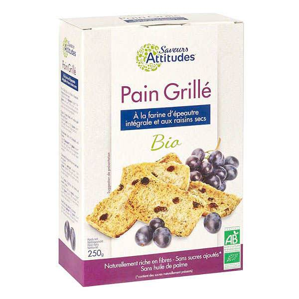 Saveurs Attitudes Pain grillé bio à la farine d'épeautre intégrale et raisins - Boite 250g