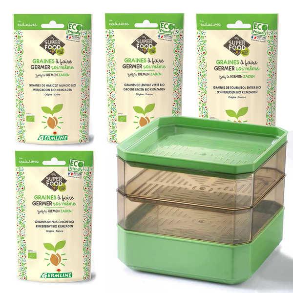 Germline Kit graines germées pour habitué - Le germoir + 4 sachets de graines
