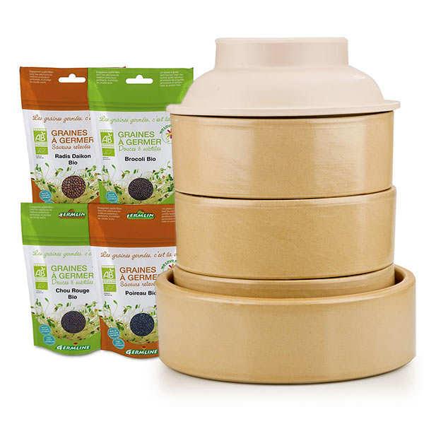 BienManger.com Kit premium graines germées - Germoir en grès + 4 sachets de graines