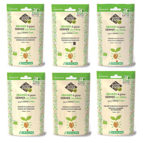 Germline Lot découverte des graines à germer douces et subtiles - 6 sachets de graines