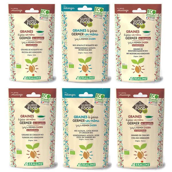 Germline Lot découverte des graines à germer mucilagineuses - 6 sachets de graines
