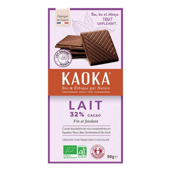 Kaoka Tablette de chocolat au lait 32% bio - Simply milk - 3 tablettes de 80g