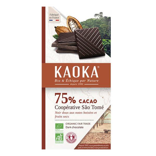 Kaoka Tablette de chocolat noir 75% bio origine Sao Tomé - 6 tablettes de 100g