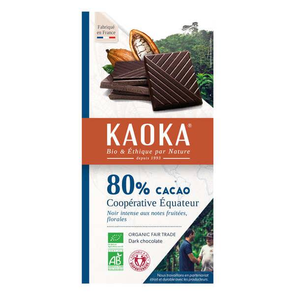 Kaoka Tablette de chocolat noir 80% bio origine Equateur - 3 tablettes de 100g