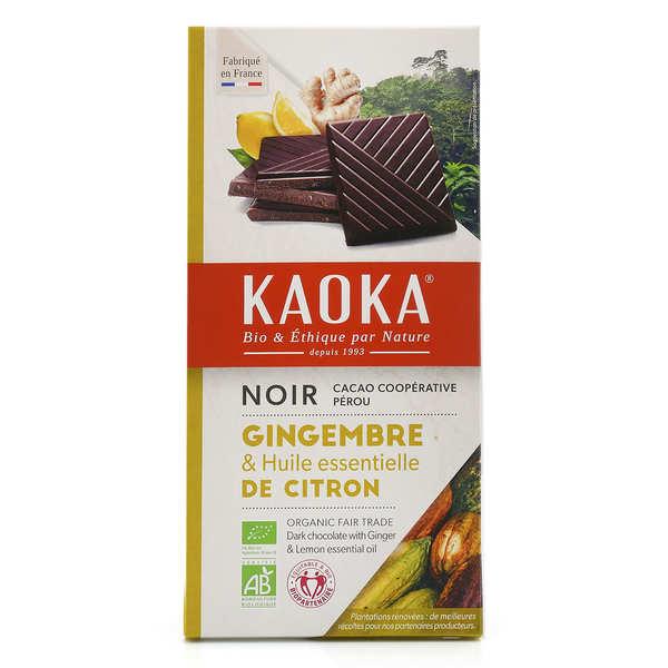 Kaoka Tablette de chocolat noir 55% au citron et gingembre bio - Tablette 100g
