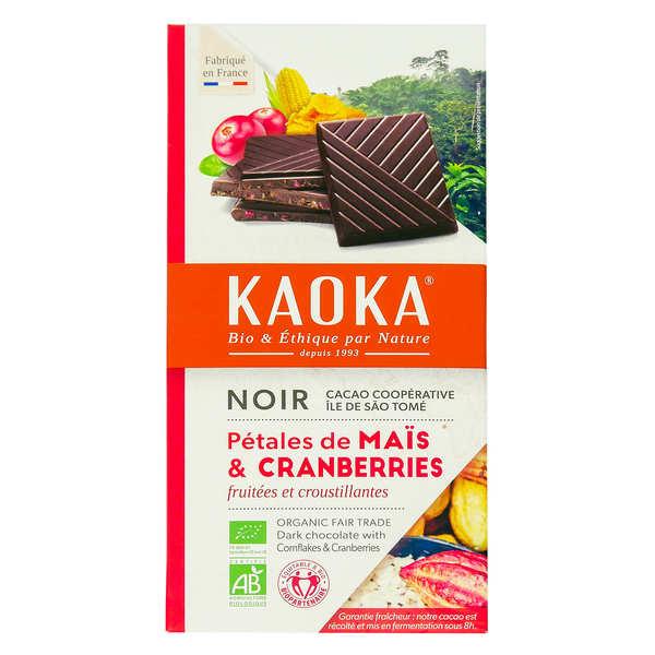 Kaoka Tablette de chocolat noir 66% aux cranberries et céréales bio - 3 tablettes de 100g