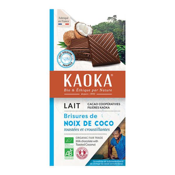 Kaoka Tablette de chocolat au lait 32% à la noix de coco bio - 6 tablettes de 100g