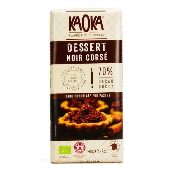 Kaoka Tablette de chocolat dessert noir corsé 70% bio - 3 tablettes de 200g