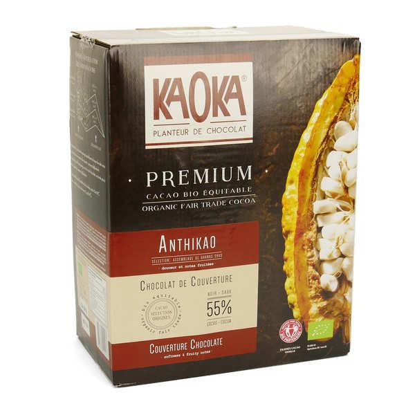 Kaoka Palets de chocolat noir 58% bio - Chocolat de couverture - Carton 5kg