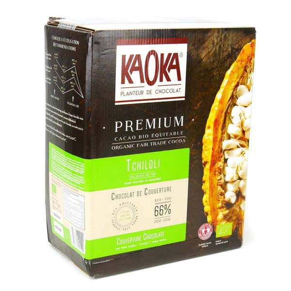 Kaoka Palets de chocolat noir Sao Tomé 66% bio - Chocolat de couverture - Carton 5kg
