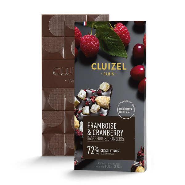 Michel Cluizel Tablette chocolat noir 72% framboise et cranberry Michel Cluizel - 3 tablettes de 100g