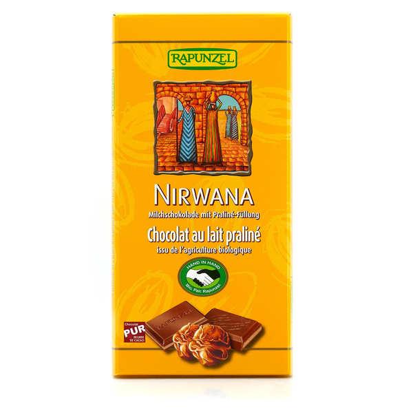 Rapunzel Tablette de chocolat au lait praliné Nirwana bio et vegan - 3 tablettes de 100g