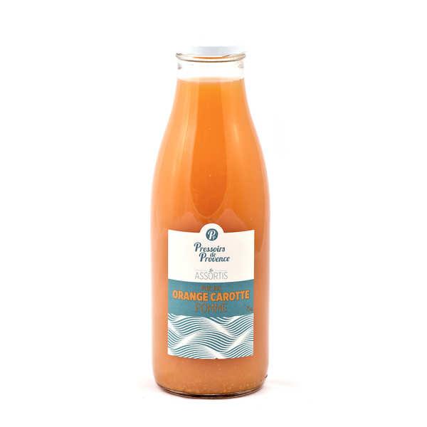 Pressoirs de Provence Pur jus orange carotte pomme - Bouteille 75cl