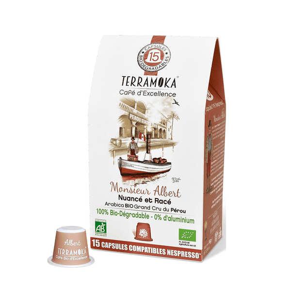 Terra Moka Albert - Capsules de café bio compatibles Nespresso® biodégradables - Boîte 15 capsules