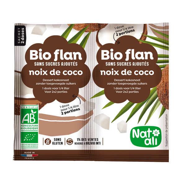 Nat-Ali Bio Flan parfum noix de coco sans sucres ajoutés - Lot de 10 x 2 doses de 4g