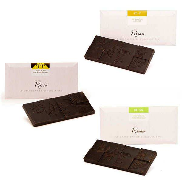 Rrraw Trio de tablettes de chocolat cru - 3 tablettes de 45g