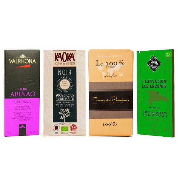BienManger.com Assortiment tablettes de chocolat noir grandes origines - Lot de 4 tablettes