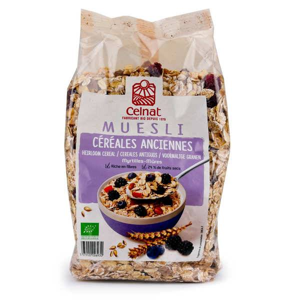 Celnat Muesli aux céréales anciennes myrtille et mûre bio - Sachet 375g