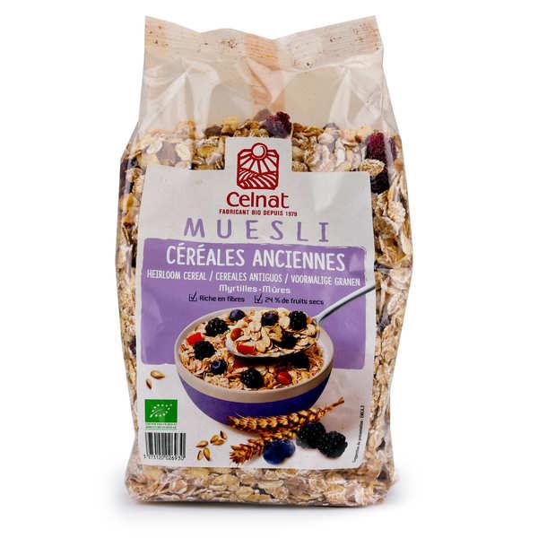 Celnat Muesli aux céréales anciennes myrtille et mûre bio - 3 sachets de 375g