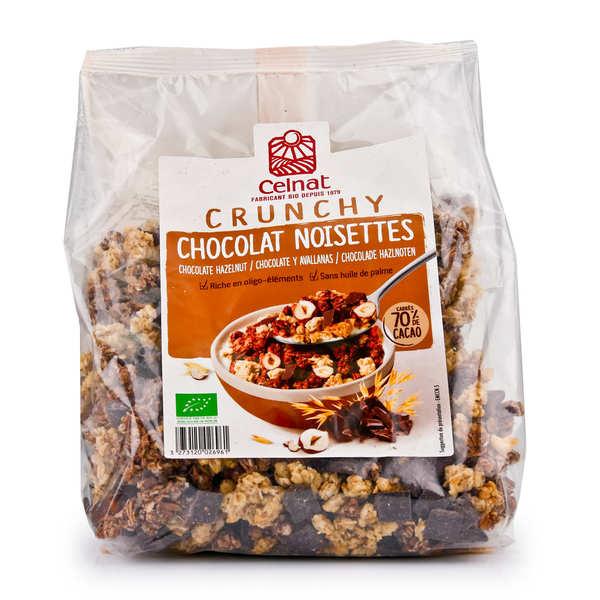 Celnat Crunchy au chocolat noir et à la noisette bio - Sachet 500g