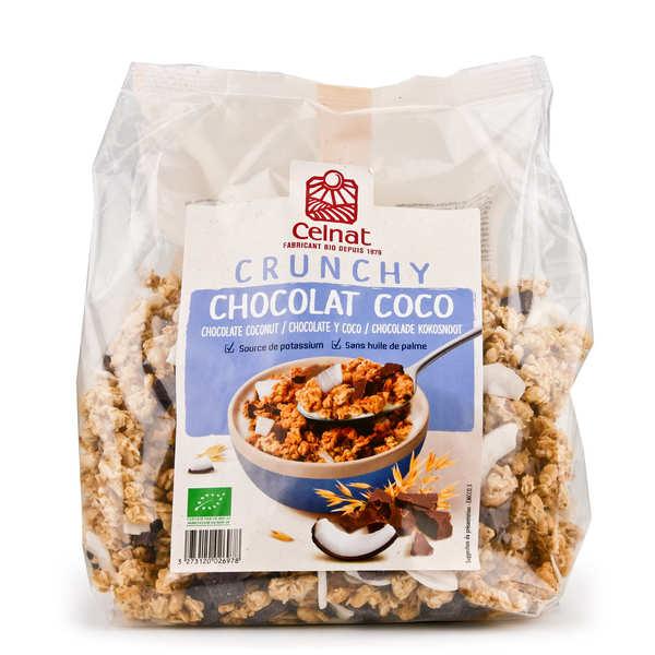 Celnat Crunchy au chocolat noir et à la noix de coco bio - Sachet 500g