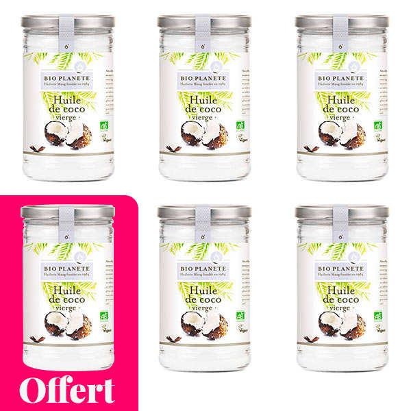 BioPlanète Huile vierge de coco Bio - 5 + 1 offert - 5 bocaux de 400ml + 1 offert
