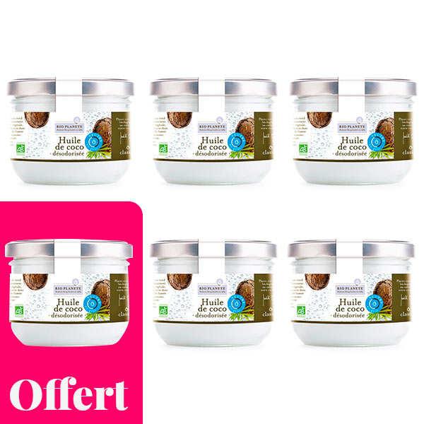 BioPlanète Huile de coco désodorisée bio - 5 + 1 offert - 5 bocaux de 1L + 1 offert